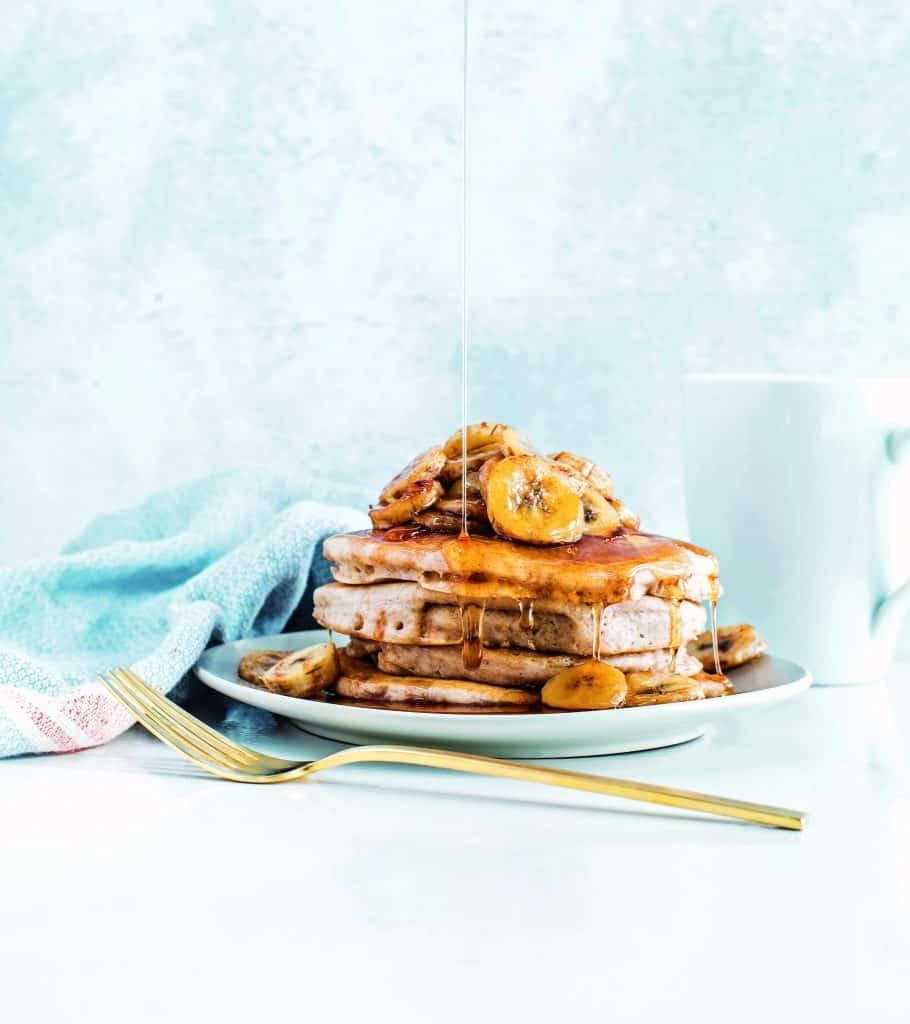 Vegan Pancakes With Roasted Bananas - Recipe From Frugal Vegan